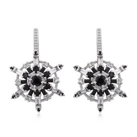GP Boi Ploi Black Spinel (Rnd), Kanchanaburi Blue Sapphire and White Topaz Snowflake Earrings in Platinum Overlay Sterling Silver 7.000 Ct.