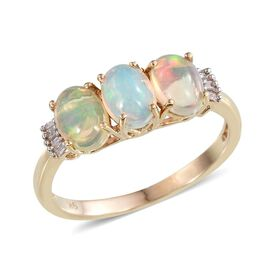 9K Y Gold AAA Ethiopian Welo Opal (Ovl), Diamond Ring 1.650 Ct.
