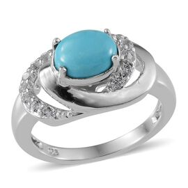 Arizona Sleeping Beauty Turquoise (Ovl 1.00 Ct), White Topaz Ring in Platinum Overlay Sterling Silver 1.550 Ct.