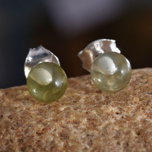 Natural Green Gold Quartz Ball Stud Earrings (with Push Back) in Platinum Overlay Sterling Silver 3.000 Ct.