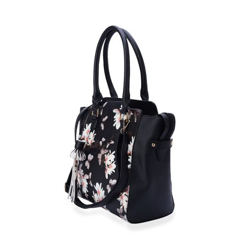 Linea White Floral Pattern Black Colour Tote Bag with External Zipper Pocket and Adjustable and Removable Shoulder Strap (Size 40x31x10 Cm)