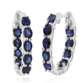 Kanchnaburi Blue Sapphire (Ovl) Hoop Earrings (with Clasp) in Rhodium Plated Sterling Silver 4.000 Ct.