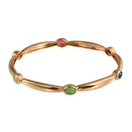 AA Ethiopian Welo Opal (Ovl), Pink, Green, Orange, Blue and Paraiba Ethiopian Opal Bangle (Size 7.5) in 14K Gold Overlay Sterling Silver 2.000 Ct.