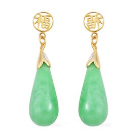 Green Jade Chinese Character FU (Goodluck) Drop Earrings (with Push Back) in Yellow Gold Overlay Sterling Silver 25.400 Ct.