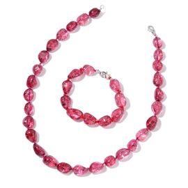 AAA Red Austrian Crystal Necklace (Size 18) and Bracelet (Size 7.5) in Silver Tone