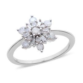 9K White Gold 0.50 Carat Diamond Cluster Snowflake Ring SGL Certified I3 G-H.