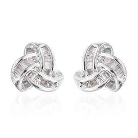 Diamond (Bgt) Knot Stud Earrings (with Push Back) in Platinum Overlay Sterling Silver 0.250 Ct.