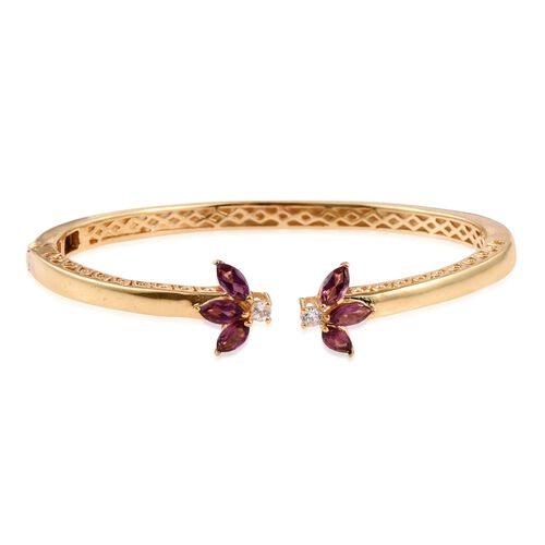 Rhodolite Garnet (Mrq), Natural Cambodian Zircon Bangle (Size 7.5) in ION Plated 18K YG Bond 2.500 Ct.