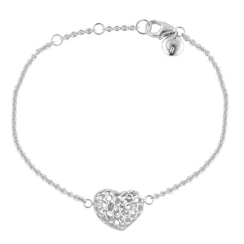 RACHEL GALLEY Rhodium Plated Sterling Silver Amore Heart Lattice Bracelet (Size 8),