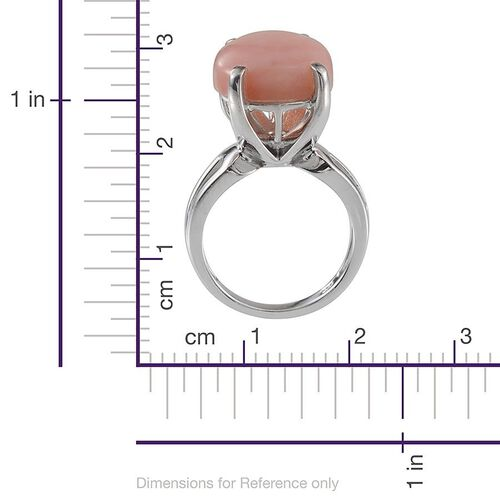 Peruvian Pink Opal (Pear) Solitaire Ring in Platinum Overlay Sterling Silver 7.000 Ct.