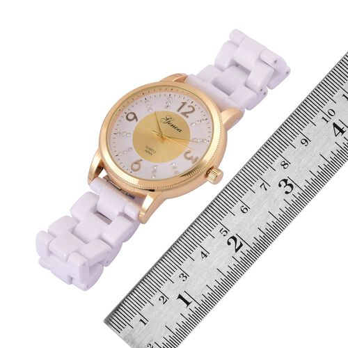 GENOA Japanese Movement White Austrian Crystal Studded White and Golden Dial Water Resistant Watch in Gold Tone with Stainless Steel Back and White Ceramic Strap