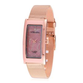 STRADA Japanese Movement White Austrian Crystal Studded Pink Dial Water Resistant Watch in Rose Gold Tone with Stainless Steel Back and Chain Strap