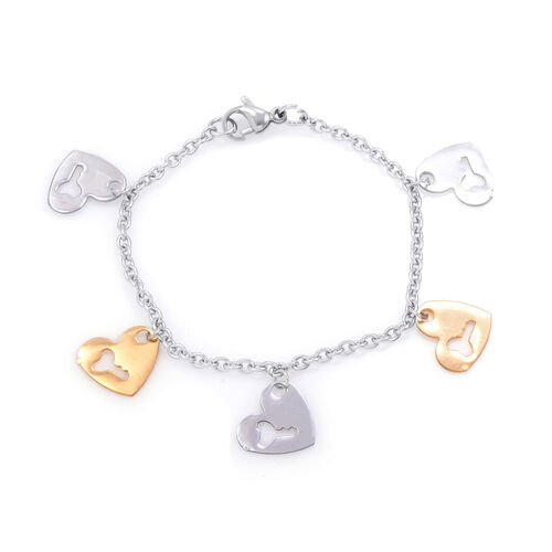 Close Out Deal Bracelet with Gold and Silver Plated Heart Charm in Stainless Steel (Size 7)