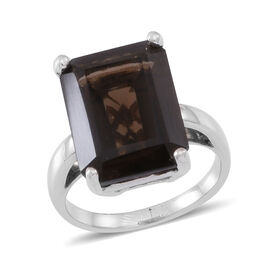 Brazilian Smoky Quartz (Oct) Ring in Rhodium Plated Sterling Silver Ring Ct.Total Gem Wt 15 Cts.