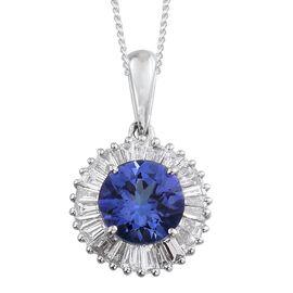 RHAPSODY 950 Platinum Tanzanite (Rnd 1.25 Ct), Diamond Pendant With Chain 1.750 Ct.