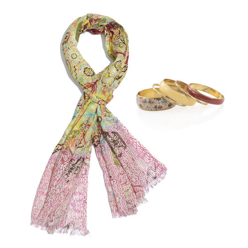 Yellow, Green and Multi Colour Printed Scarf (Size 180x70 Cm) with Matching Set of 5 Bangles (Size 8) in Gold Tone