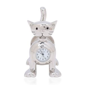 STRADA Japanese Movement Slinky Cat Table Clock in Silver Tone