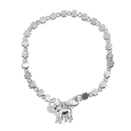 Elephant Goodluck Charm Silver Bracelet in Platinum Overlay Size 7.5, Silver wt 7.09 Gms.