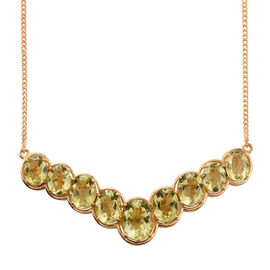 Natural Green Gold Quartz (Ovl) Necklace (Size 18) in 14K Gold Overlay Sterling Silver 20.750 Ct.