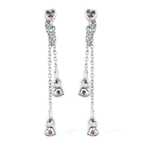 Diamond Saffron (Rnd) Hearts Earrings in Platinum Overlay Sterling Silver 0.060 Ct.
