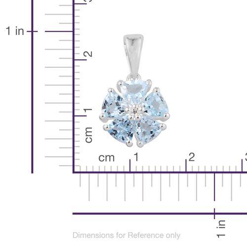 Sky Blue Topaz (Trl), Diamond Pendant in Sterling Silver 2.510 Ct.