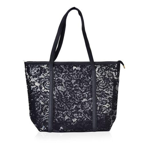 Limited Edition - Set of 2 - Classic Black Colour Lace Pattern Handbag (Size 44X30X13.5 Cm) and Pouch (Size 25X19X7 Cm)