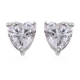 J Francis - Platinum Overlay Sterling Silver (Hrt) Stud Earrings (with Push Back) Made with SWAROVSKI ZIRCONIA