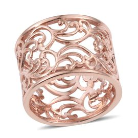 Rose Gold Overlay Sterling Silver Filigree Band Ring, Silver wt 5.72 Gms.