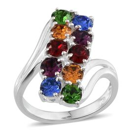 Crystal from Swarovski - Sapphire Colour Crystal (Rnd), Amethyst Colour Crystal, Light Siam Crystal, Topaz Colour Crystal and Fern Green Crystal Ring in Sterling Silver 1.750 Ct.