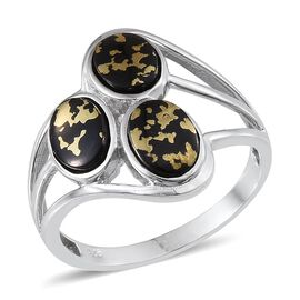 Goldenite (Ovl) Trilogy Ring in Platinum Overlay Sterling Silver 3.000 Ct.