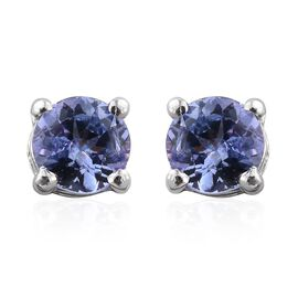 Tanzanite (Rnd) Stud Earrings (with Push Back) in Platinum Overlay Sterling Silver 0.500 Ct.