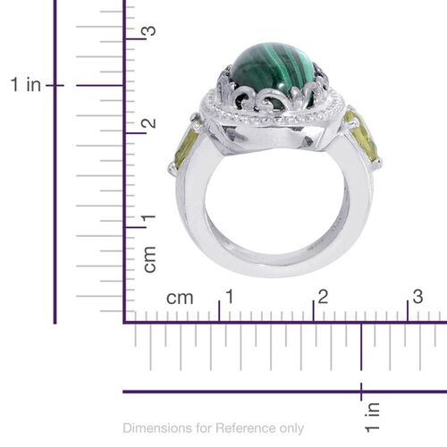 Malachite (Ovl 7.00 Ct), Hebei Peridot Ring in Platinum Bond 7.750 Ct.