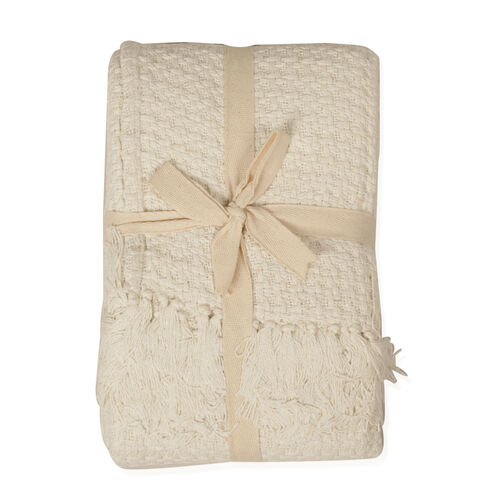 100% Cotton White and Cream Colour Throw with Fringes (Size 150x125 Cm)