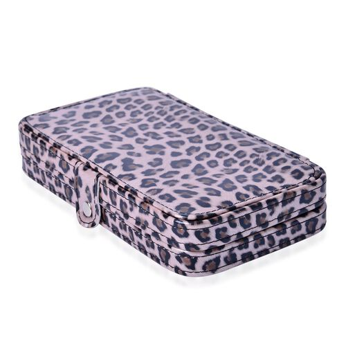 Minicare Kit Includes (6 pcs Make-Up Brushes), 1pc Mirror and 11pcs Manicure Tools in a Multi Colour Leopard Pattern Box (Size 20x10x4 Cm)