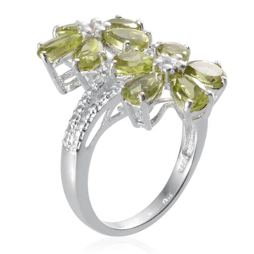 Hebei Peridot (Pear), White Topaz Twin Floral Ring in Platinum Overlay Sterling Silver 4.750 Ct.