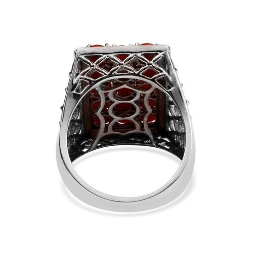 Natural Mediterranean Coral (Rnd) Ring in Platinum Overlay Sterling Silver 3.900 Ct.