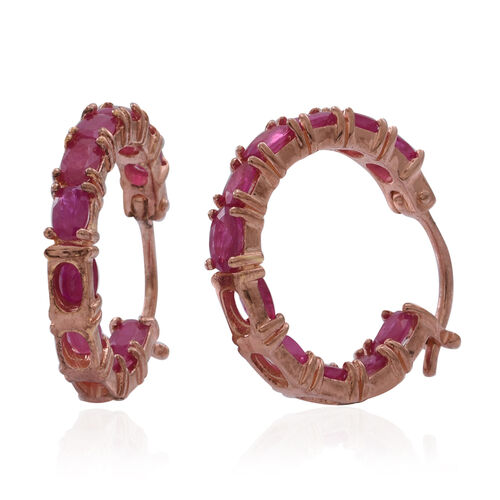Burmese Ruby (Ovl) Hoop Earrings (with Clasp) in Rose Gold Overlay Sterling Silver 5.000 Ct.