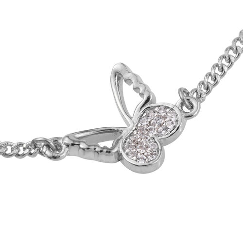 Kimberley Butterfly Collection - Natural Cambodian Zircon (Rnd) Butterfly Bracelet (Size 7.5) in Platinum Overlay Sterling Silver