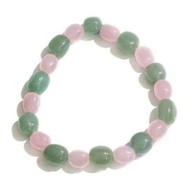 Limited One Time Deal-Green Aventurine and Rose Quartz Stretchable Bracelet (Size 7.5) 88.000 Ct.