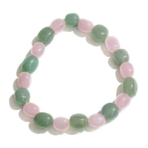 Green Aventurine and Rose Quartz Stretchable Bracelet (Size 7.5) 88.000 Ct.