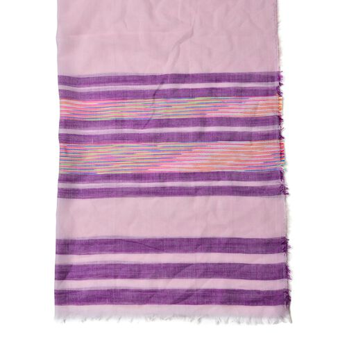 Pink, Purple, Blue and Multi Colour Stripe Pattern Scarf (Size 200x90 Cm)