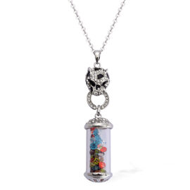 Multi Colour Austrian Crystal Enameled Leopard Face with kaleidoscope Pendant With Chain (Size 26) in Silver Tone