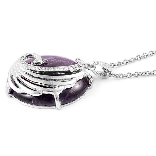 Amethyst and White Austrian Crystal Phoenix Pendant with Chain (Size 28) in Silver Tone 103.000 Ct.