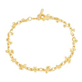 LucyQ Fine Splat Bracelet (Size 7.75) in Yellow Gold Overlay Sterling Silver 8.70 Gms.