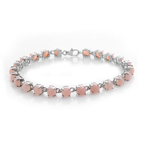 Peruvian Pink Opal Platinum Overlay Sterling Silver Bracelet (Size 7.5) 10.15 Ct.