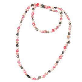 Fresh Water Green, Peach, Plum and White Colour Pearl Necklace (Size 46)