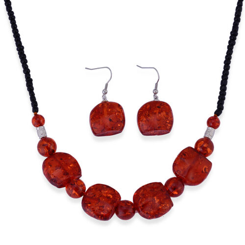 Simulated Amber, Black Glass Necklace (Size 23) and Hook Earrings in Stainless Steel