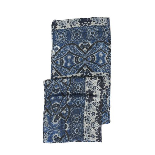 100% Silk Dark Blue and Grey Colour Flower Printed Scarf (Size 175x45 Cm)