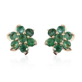9K Y Gold Kagem Zambian Emerald (Rnd) Floral Stud Earrings (with Push Back) 1.000 Ct.
