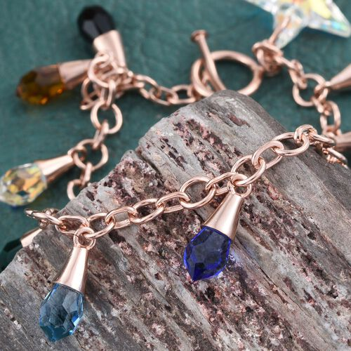 J Francis Crystal From Swarovski - Rainbow Colour Crystal Charm Bracelet (Size 7.5) in Rose Gold Overlay Sterling Silver